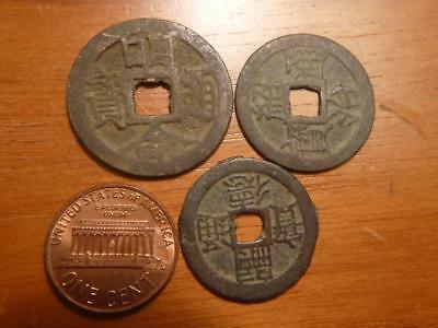 3 Different Old Vietnam Cash Coins 1820-1883, Circulated Condition..SKU#12777