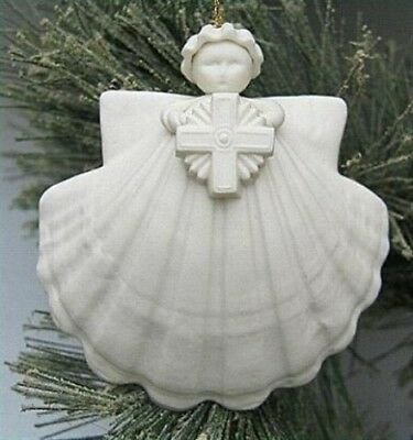 "Margaret Furlong 3 inch 3"" Cross Angel Ornament Porcelain BRAND NEW w/stand"