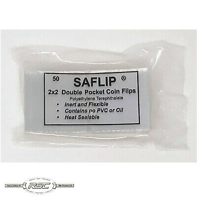 SAFLIP 2x2 Double Pocket Mylar Coin Flips - Museum Quality Holders - Pack of 50