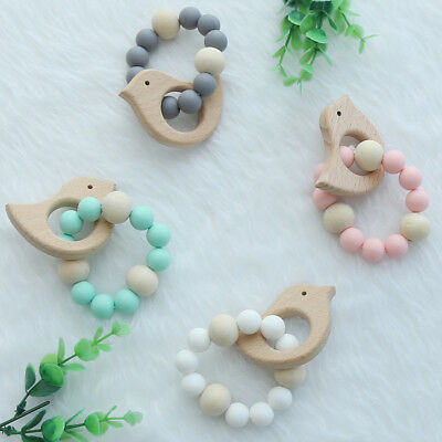 Baby Bird Shaped Wood Silicone Beads Teether Ring Infant Teething Bracelet Toy