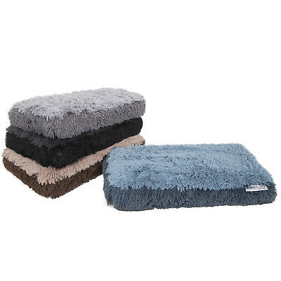 Fuzzy Dog Bed Pet Lounger Deluxe Cushion Crate Foam Soft Warm Cozy Comfortable