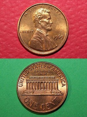1969 P BU Lincoln Memorial Cent Penny Brilliant Uncirculated Combined Shipping