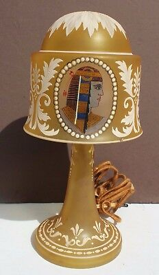 RARE Vtg 1920's Hand Painted Egyptian Revival Antique Glass Table Top Lamp