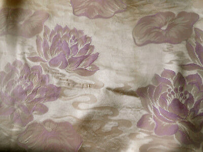 Antique Vintage Water Lily Floral Satin Damask Fabric ~ Orchid Pink Lavender