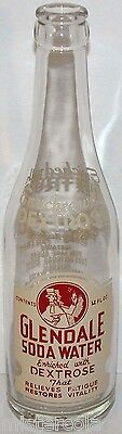 Vintage soda pop bottle GLENDALE SODA WATER man pictured Kansas City MO n-mint