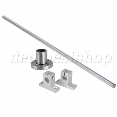 4pcs CNC 40cm Linear Shaft Rail Support 10mm Round Flange Bearing
