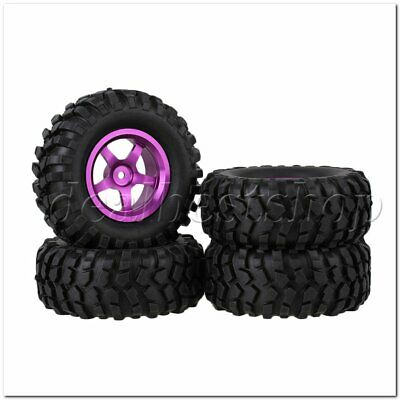 4PCS RC 1:10 Rock Crawler Car Alloy Purple 5-Spoke Wheel Rim Simulation Tire