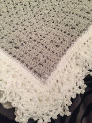 Crochet Sweet Dreams Baby Blanket Afghan Gray And White Help a Puppy!!!