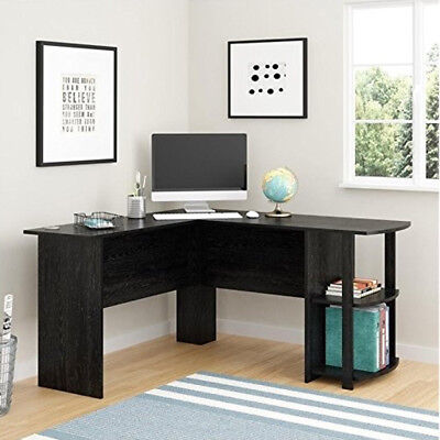 54 L Shaped Office Computer Desk Large Corner Pc Table W Bookshelves In