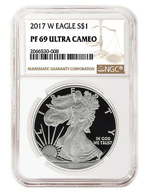 2017 W 1oz Silver Eagle Proof NGC PF69 Ultra Cameo - Brown Label