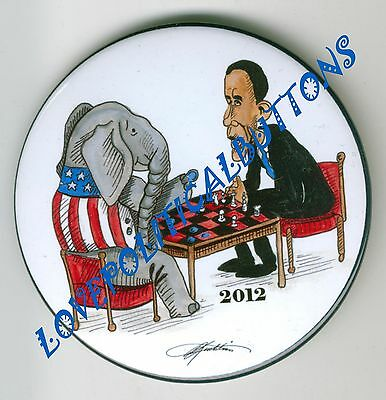 "BARACK OBAMA 2012 ""CHESS//CHECKERS""  POLITICAL BUTTONS PINBACK PIN by KIRKLAND"