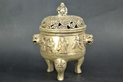 Chinese Collectible Old tibet silver immortal handwork buddha big incense burner