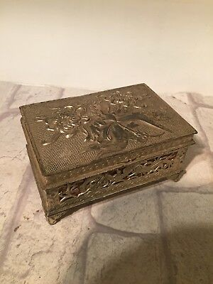 Vintage Silver Plate Gilt Decorative Cigar Cigarette Box
