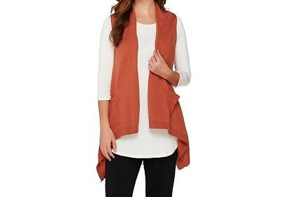 LOGO by Lori Goldstein Cotton Cashmere Vest with Angled Pockets A272854