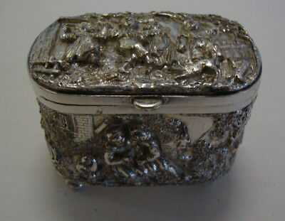 A late Victorian Dutch embossed silver plated  trinket box
