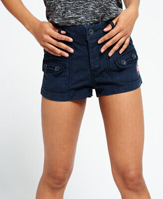 New Womens Superdry Utility Hot Shorts Washed Navy