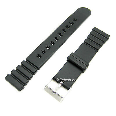 18mm 20mm Fitting Black Divers Rubber Plastic Resin Casio Type Watch Strap Band