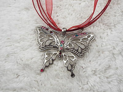 Silvertone Rhinestone Butterfly Pendant Red Voile Ribbon Necklace (D27)