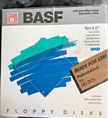 "NEW Pack of 10 BASF 3.5"" Two Sided High Density Floppy Disks 2HD Preformatted"
