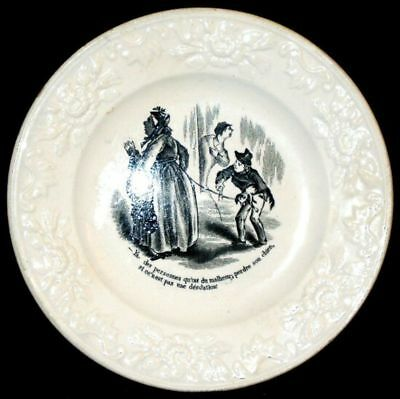 ANTIQUE French Black Cartoon Collector Plate circa 1870