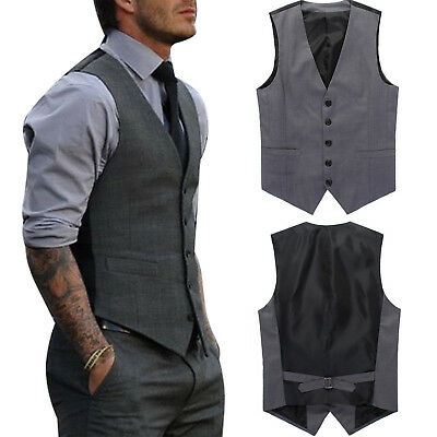 Men Formal Business Tuxedo Waistcoat Slim Casual Dress Vest Suit Coat Stylish
