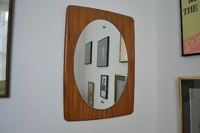 VINTAGE 1960s ENGLISH MADE SCANDINAVIAN DESIGN WOOD BACKED MIRROR READY TO HANG