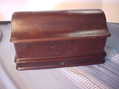 Antique Walnut Treadle Sewing Machine Lid Cover Unusual Shape Shallow