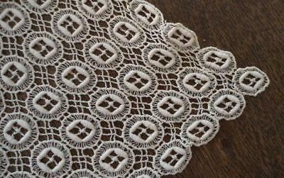 """Vintage Schiffli French Embroidered Lace Table Runner Ivory Cotton 42"""""""