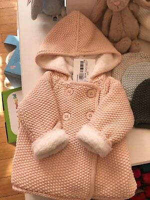 THE LITTLE TAILOR Fleece Lined Pale Pink Hooded Knitted Baby Girl Jacket 0-3m Bn