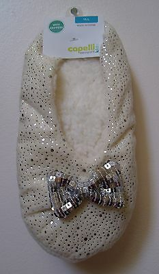 Girls Capelli Kids Ivory Silver Faux Fur Gripper Slipper Socks Sz M/L NEW