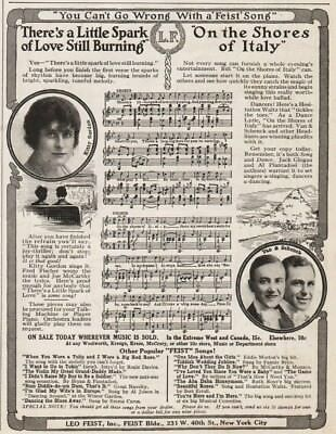 1915 Leo Feist NYC Kitty Gordon Van & Schenck Music Records Fred Fischer Pic Ad