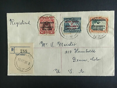1935 Nieu Registered Cover Jubilee to USA # 67 to 69