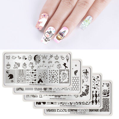 Nicole Diary Nail Art Stamping Plates Animals Theme Stamp Templates Manicure DIY