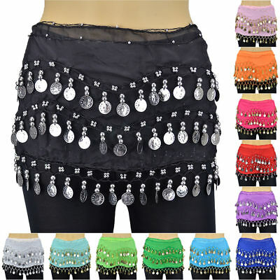 Multi-color Belly Dance Hip Skirt Scarf Wrap Belt Hipscarf 3 Rows Silver Coins