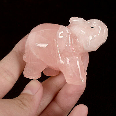 China Natural Rose Quartz Stone Hand Carved Feng Shui Elephant Elephants Statue