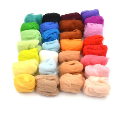 15 colors Wool Fibre Roving For Needle Felting Hand Spinning DIY material UK