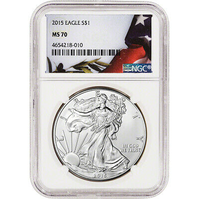2015 American Silver Eagle - NGC MS70 - Flag Label
