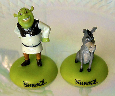 "Shrek 2 & Donkey Miniature Figurines 2"" Dream Works Action Figure Toy RARE 2004"