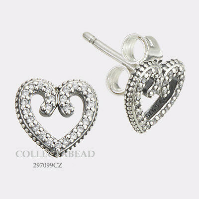 d3729c72f Authentic Pandora Sterling Silver Heart Swirls Clear CZ Stud Earrings  297099CZ