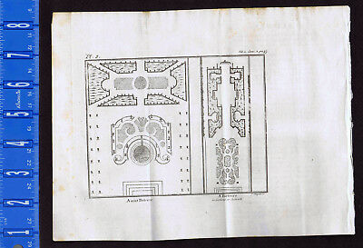 GARDEN PLANS: Amixt Parterre &  Parterre in Cutwork - 1737 Pluche Engraving