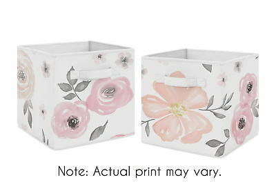 Pink Grey Watercolor Floral Foldable Fabric Storage Cube Bins Boxes - 2pc Set