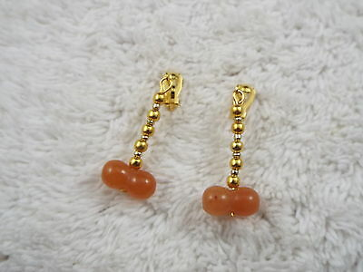 Goldtone Peach Agate Stone Bead Phallus Clip-on Earrings (D27)