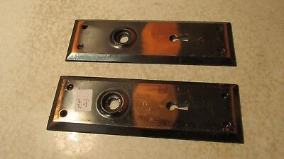 2 Antique Steel Door Plates No. 31  Coppertone