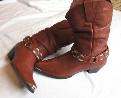 Ladies Brown Leather Old West Cowgirl Boots Sz: 7 (#19932 AA )