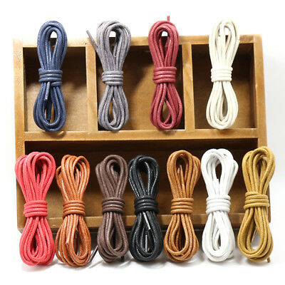 Fashion 60-180cm Round Waxed Cord Shoe Laces Unisex Leather Shoelaces String
