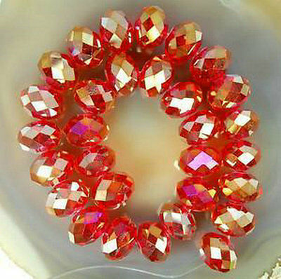Wholesale Red AB Crystal Faceted Abacus Loose Bead  6*8mm 70pcs