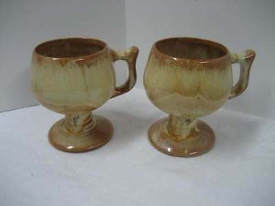 Huronia Pottery 2 Mustard Yellow Footed Cups/Mugs