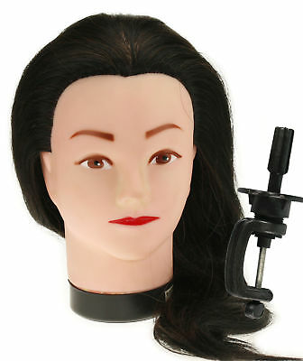 Synthetic Training Salon Standard Practice Human Hair Mannequin Head With Clamp