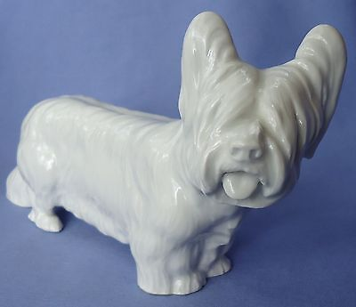 "8"" Meissen Skye Silky Terrier Papillon Dog Germany"