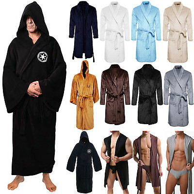 Mens Womens Bathrobe Hooded Dressing Gown Warm Fleece Hotel Bath Robe Sleepwear